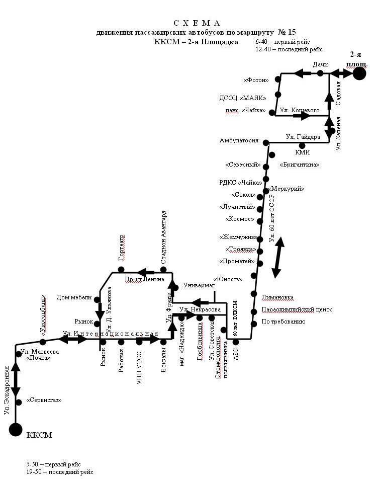 Cхемы автобусных маршрутов.